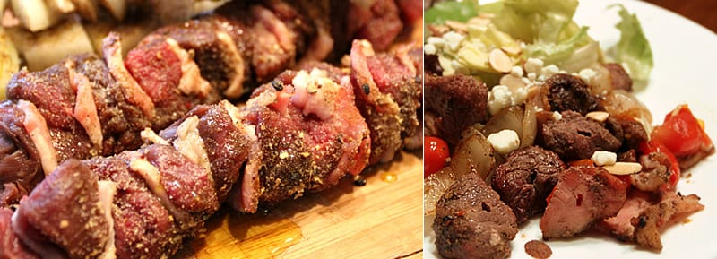 Peppercorn elk sirloin skewers with onions