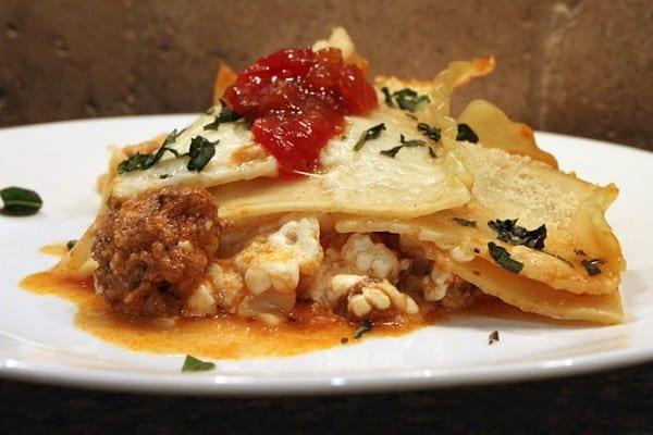 Antelope burger lasagna