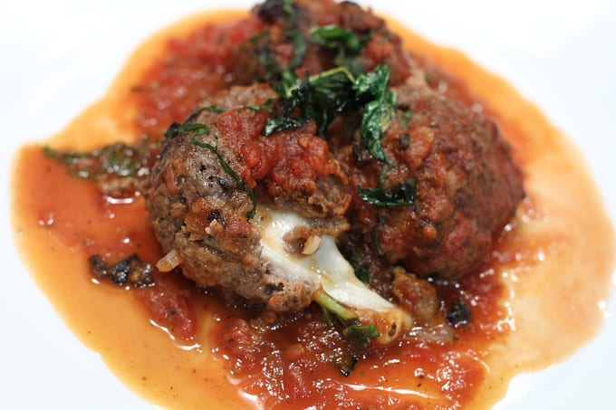 Mozzarella stuffed elk meatballs & red wine tomato sauce