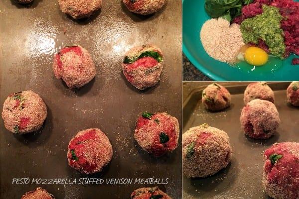 Pesto Mozzarella stuffed Venison Meatballs