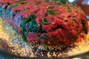 Pesto and spinach elk meatloaf