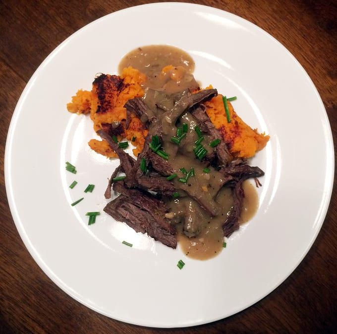 Crockpot Elk Roast with Leeks and Beer