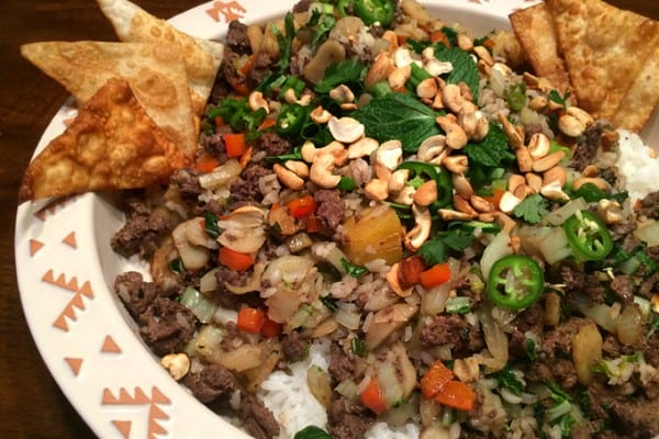 Goose Pineapple Stirfry with Mint and Roasted Cashews