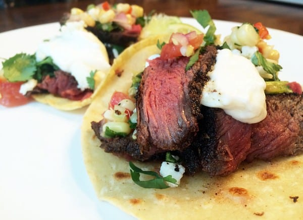 Elk Tacos with Corn and Red Bell Pepper Salsa