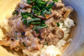 Savory Garlic Mushroom Ground Elk over Rice