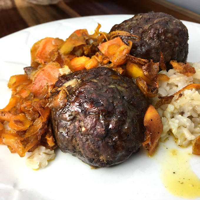 Curried Antelope Meatballs with Braised Carrots