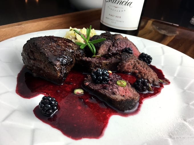Elk Steak Medallions with Blackberry Red Wine Sauce