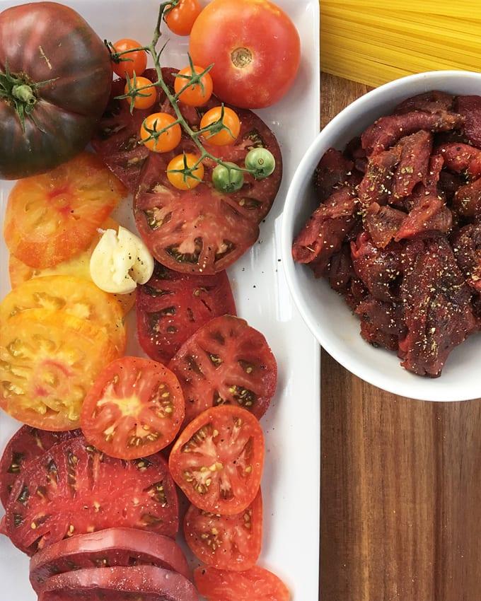 Heirloom Tomato Sauce with Sliced Elk