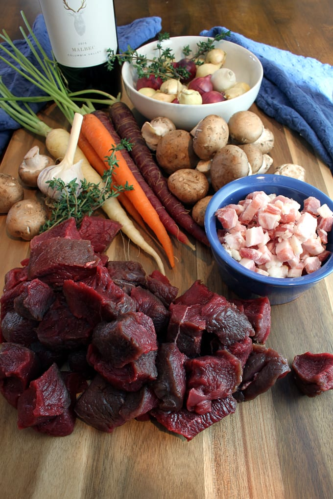 Elk Stew with Red Wine