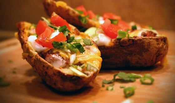 Chili Stacked Potato Skins