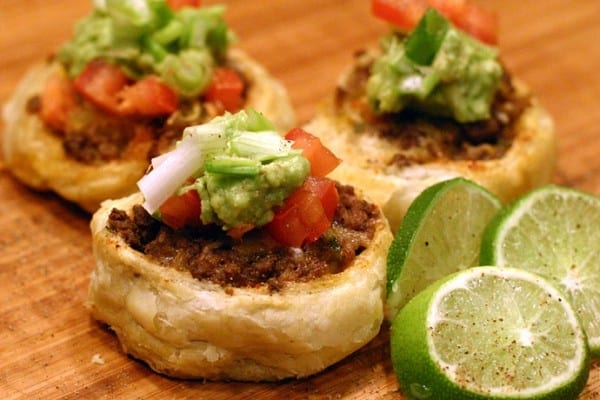 Elk burger pinwheel appetizers