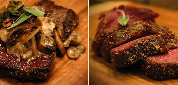 Elk filet with creamy alfredo and mushrooms