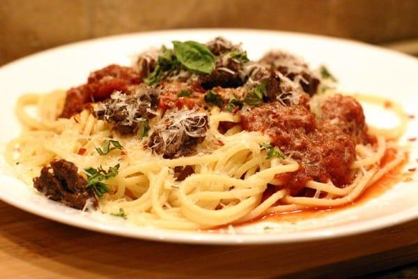 Elk Burger Spaghetti