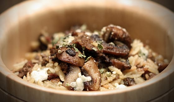 Blue cheese mushroom risotto with elk meatloaf
