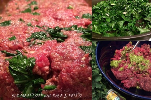 Elk Meatloaf with Kale and Pesto