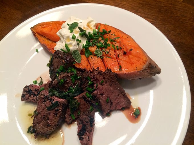 Elk and Baked Sweet Potatoes