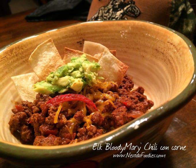 Elk Bloody Mary Chili con carne