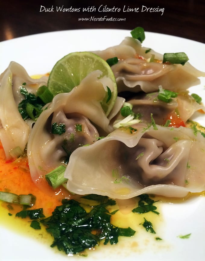 Duck Wontons with Cilantro Lime Dressing