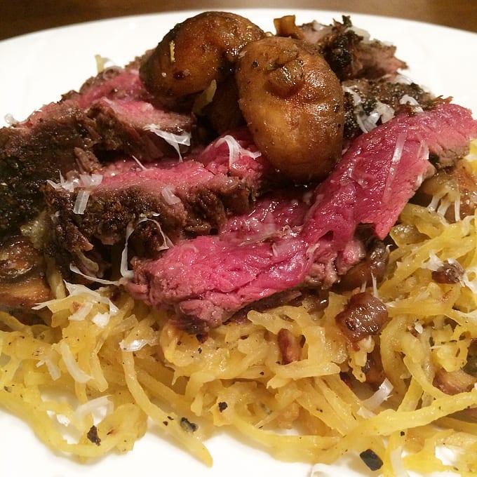 Elk Sirloin with Spaghetti Squash & Cremini Mushrooms