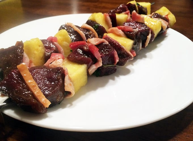 Goose Pineapple and Bacon Skewers