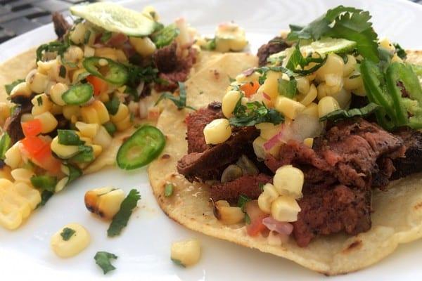 Grilled Corn Salsa Elk Tacos