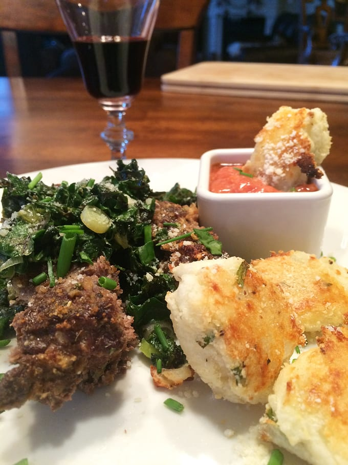 Antelope Meatloaf with Braised Greens and Tater Tots