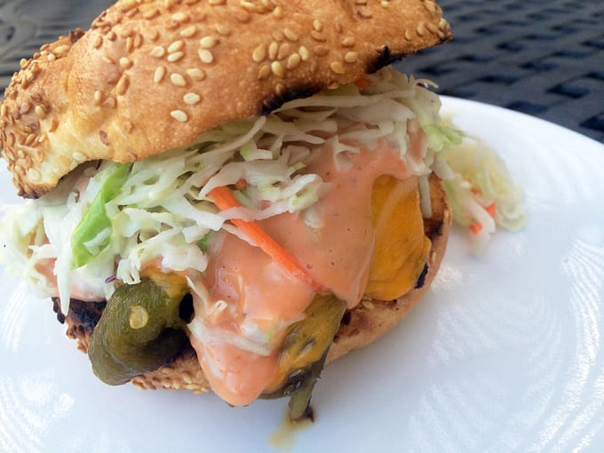 Green Chili Antelope Cheeseburgers with Slaw