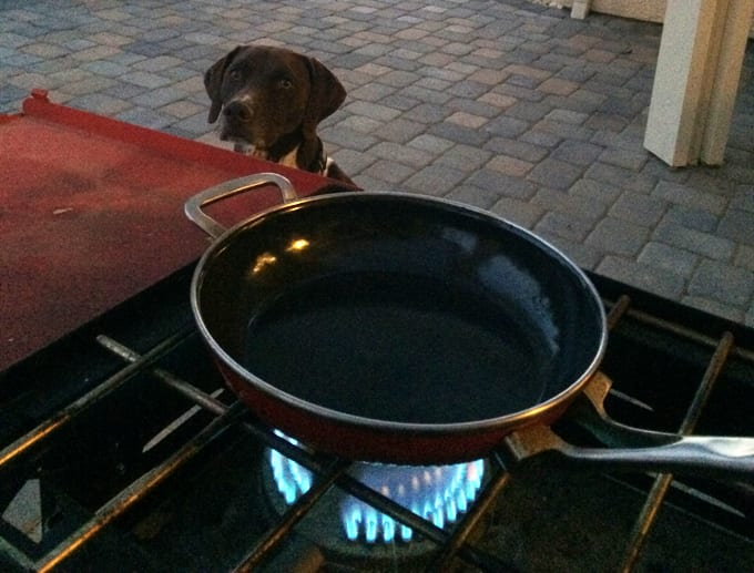 Sheldon and I getting ready to cook up the elk backstrap in the dark!