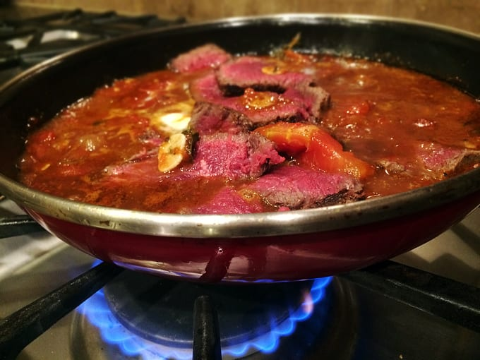 Pan Seared Elk with Grilled Tomatoes and Herbs
