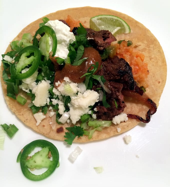 Elk Carne Asada Tacos with Grilled Onions
