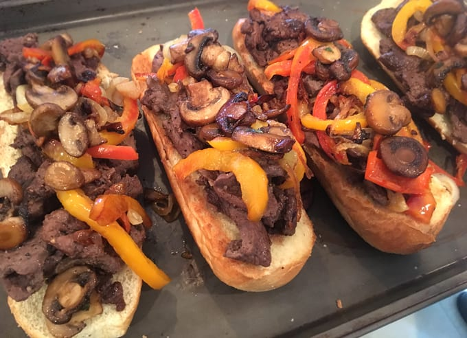 Wild Game Philly Cheese Steak Sandwiches