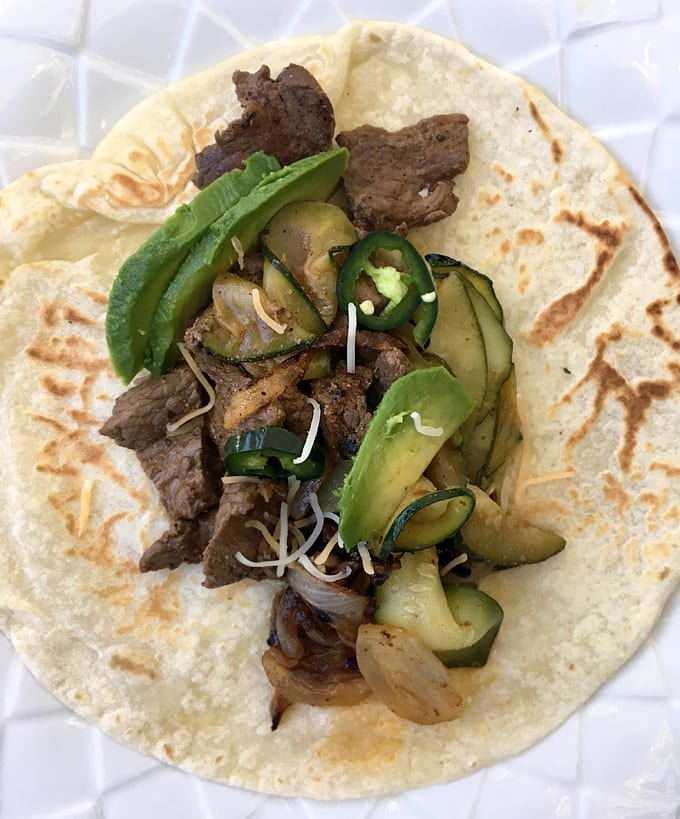 Elk Fajitas with Zucchini and Onions