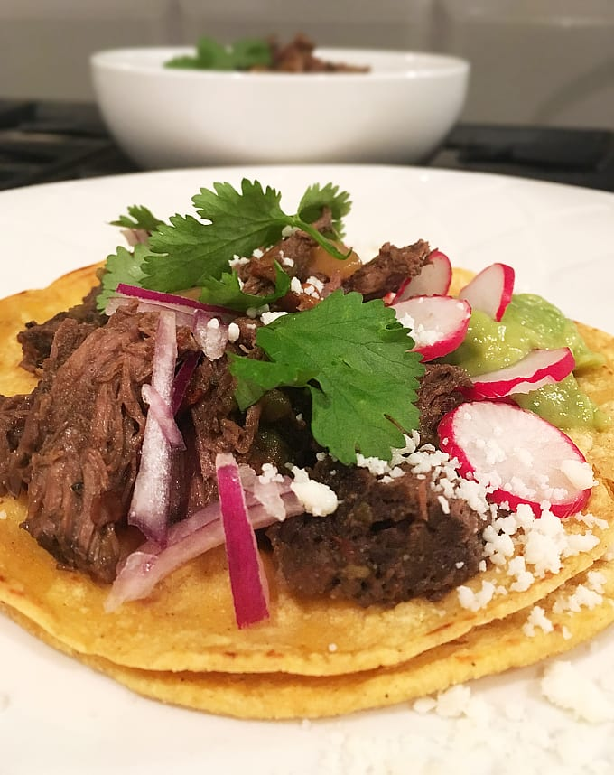 Slow Cooked Elk Barbacoa Tacos