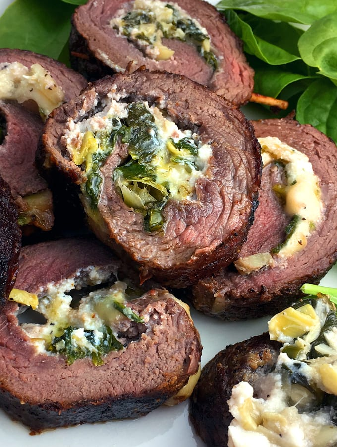 Elk Steak Roulade with Artichoke Hearts