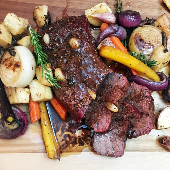 Garlic Studded Venison Roast
