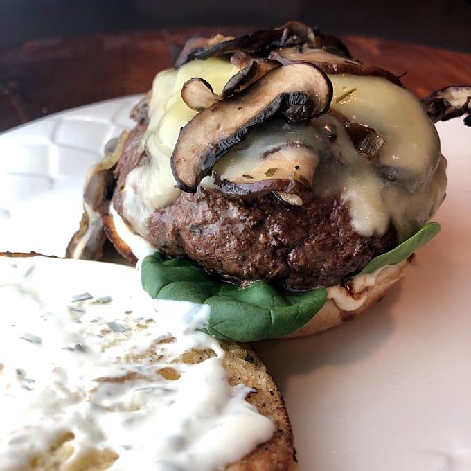 Pronghorn Mushroom Cheeseburgers with Tarragon Mayo