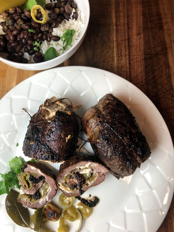 Elk Roulades Stuffed with Cream Cheese and Green Chiles