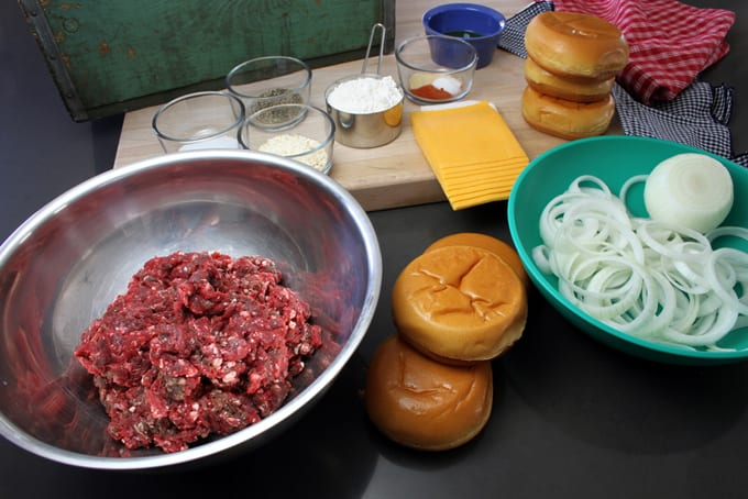 Onion Stacked Elk Cheeseburgers
