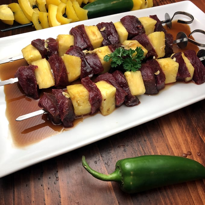 Pronghorn and Pineapple Skewers