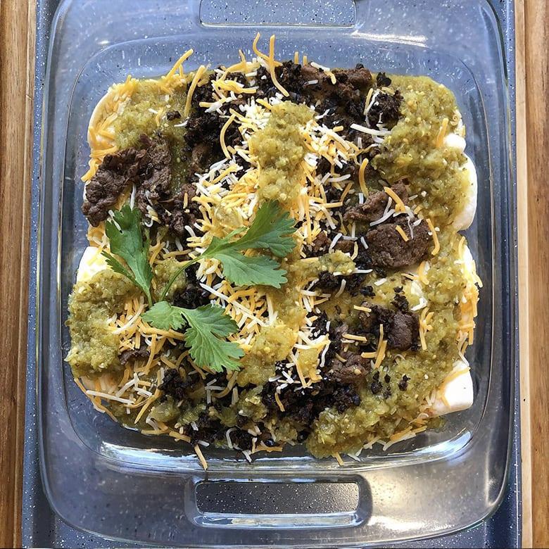 Venison Enchiladas with Green Tomato Enchilada Sauce