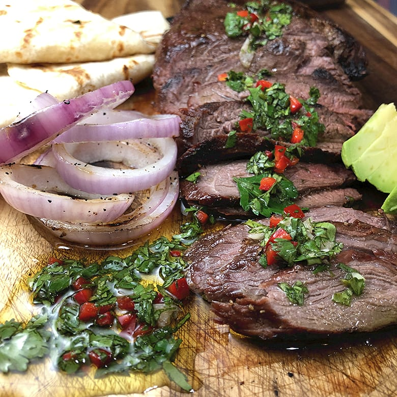 Grilled Elk Tri-Tip with Chimichurri Sauce
