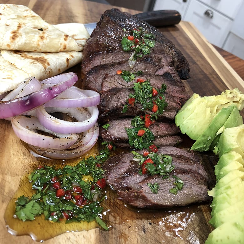 Grilled Elk Sirloin with Chimichurri Sauce